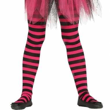 Carnavalskleding heksen verkleedaccessoires panty maillot zwart/roze