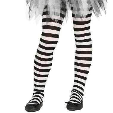 Carnavalskleding heksen verkleedaccessoires panty maillot zwart/wit m