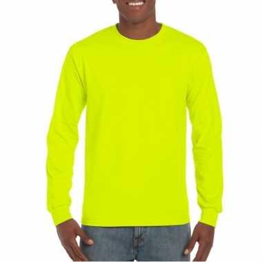 Carnavalskleding heren t-shirt lange mouw lichtgevend geel arnhem