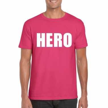 Carnavalskleding hero tekst t-shirt roze heren arnhem