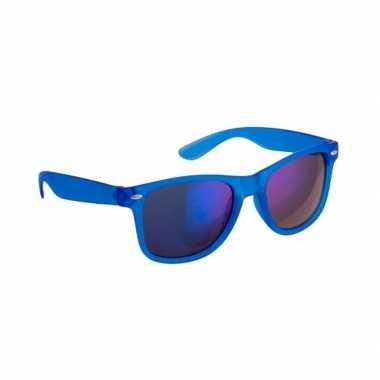 Carnavalskleding hippe zonnebril blauw spiegelglazen arnhem
