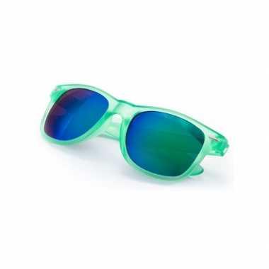 Carnavalskleding hippe zonnebril groen spiegelglazen arnhem