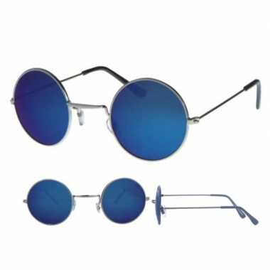 Carnavalskleding hippie bril zilver ronde blauwe glazen volwassenen a