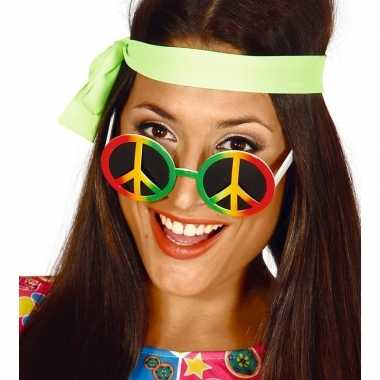 Carnavalskleding hippie/flower power peace verkleed bril arnhem
