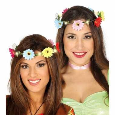 Carnavalskleding hippie/flower power verkleed bloemen hoofd krans dam