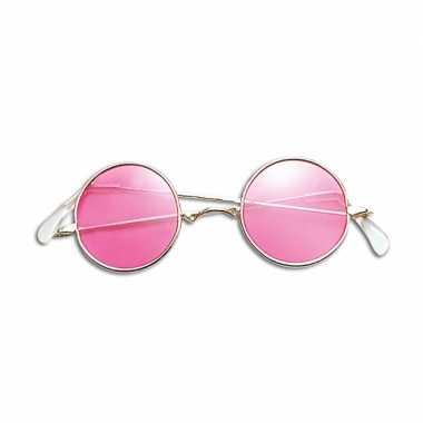 Carnavalskleding hippie / flower power verkleed bril roze arnhem