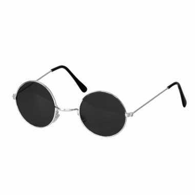 Carnavalskleding hippie / flowerpower verkleed bril ronde glazen zwar