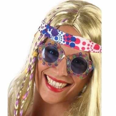 Carnavalskleding hippie verkleed bril blauwe glazen volwassenen arnhe