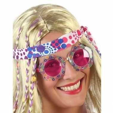 Carnavalskleding hippie verkleed bril roze glazen volwassenen arnhem