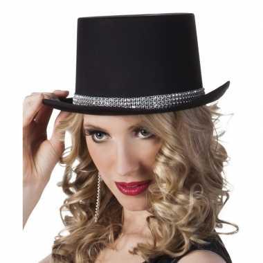 Carnavalskleding hoge hoed zwart steentjes dames arnhem