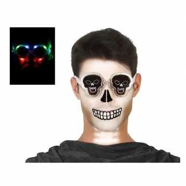 Carnavalskleding horror doodskop verkleed bril verlichting volwassen