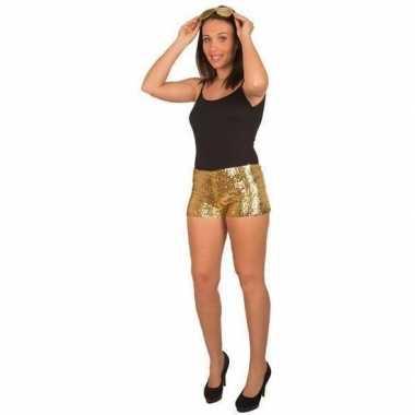 Carnavalskleding hotpants pailletten goud dames arnhem