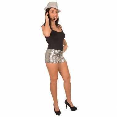 Carnavalskleding hotpants pailletten zilver dames arnhem
