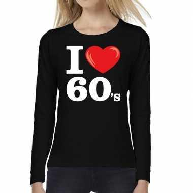 Carnavalskleding i love s / sixties long sleeve t shirt zwart dames a