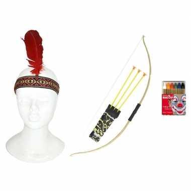 Carnavalskleding indianen accessoire set volwassenen arnhem