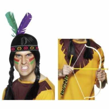 Carnavalskleding indianen accessoires verkleedset hoofdband pijl boo