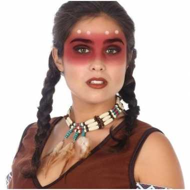 Carnavalskleding indianen verkleed accessoire ketting kralen veren ar