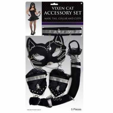 Carnavalskleding katten/poezen verkleed set zwart zilver arnhem