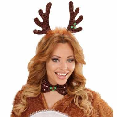 Carnavalskleding kerst diadeem rendier gewei strik arnhem
