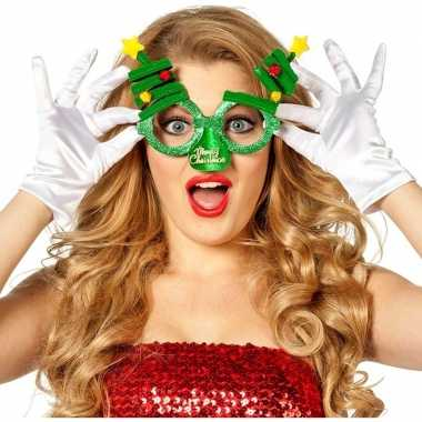 Carnavalskleding kerst feest/verkleed bril groen kerstbomen volwassen