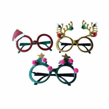 Carnavalskleding kerstaccessoires brillen/feestbrillen groen sterren arnhem