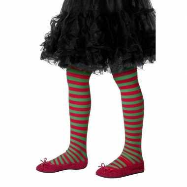 Carnavalskleding kinderpanty rood groen gestreept arnhem