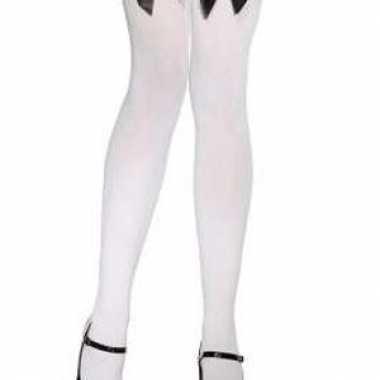 Carnavalskleding kniekousen wit zwarte strik arnhem