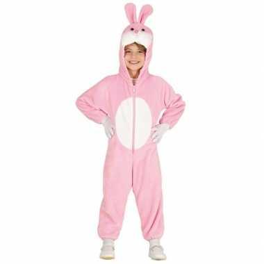 Carnavalskleding konijn/haas onesie kinderen roze/wit arnhem