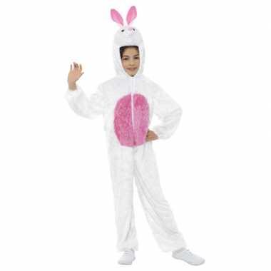 Carnavalskleding konijn/haas onesie kinderen wit/roze arnhem