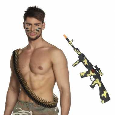Carnavalskleding leger accessoires verkleedset kogelriem geweer arnhe