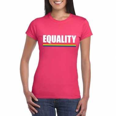 Carnavalskleding lgbt shirt roze equality dames arnhem