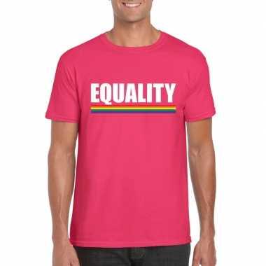 Carnavalskleding lgbt shirt roze equality heren arnhem