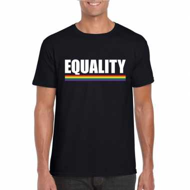 Carnavalskleding lgbt shirt zwart equality heren arnhem