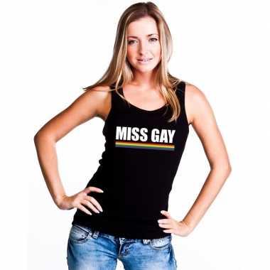 Carnavalskleding lgbt singlet shirt/ tanktop zwart miss gay dames arn