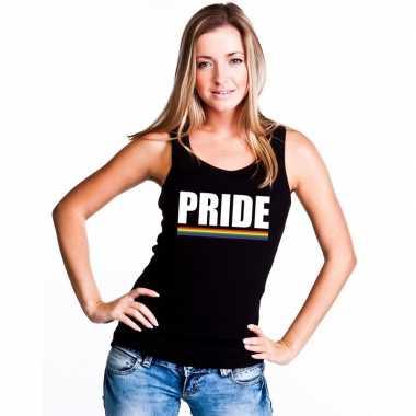 Carnavalskleding lgbt singlet shirt/ tanktop zwart pride dames arnhem