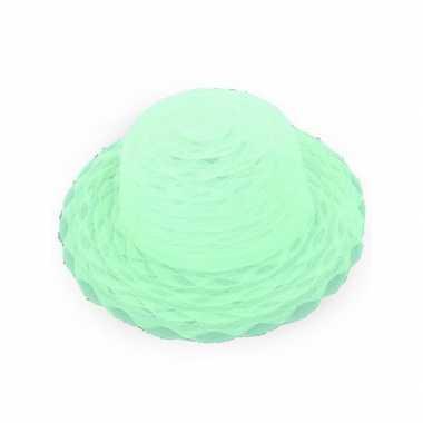 Carnavalskleding lime groene dameshoed organza stof arnhem
