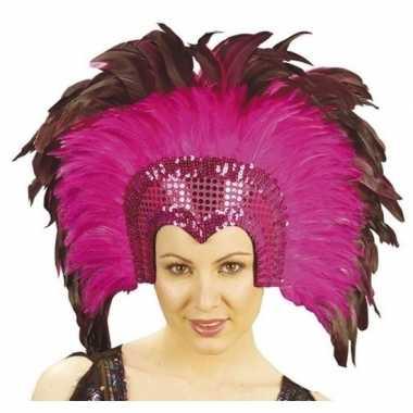 Carnavalskleding luxe hoofdtooi fuchsia roze veren volwassenen arnhem