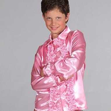 Carnavalskleding luxe rouches blouse roze kids arnhem