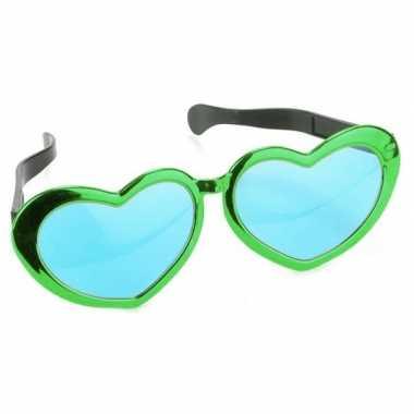 Carnavalskleding mega groene hartjes verkleed bril volwassenen arnhem