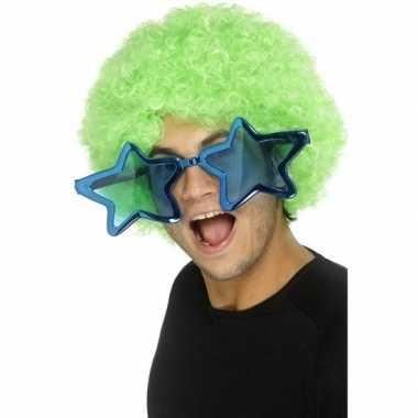Carnavalskleding mega turquoise sterren verkleed bril volwassenen arn