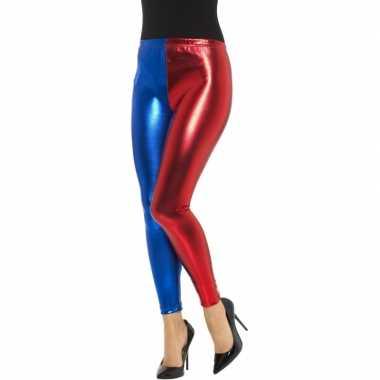 Carnavalskleding metallic legging rood/blauw dames arnhem
