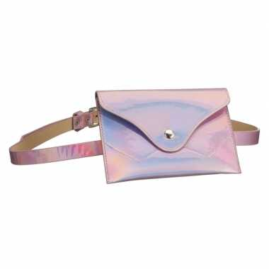 Carnavalskleding metallic roze mini heuptasje/buideltasje aan riem da