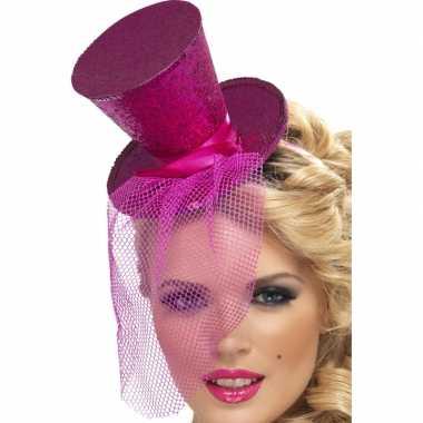 Carnavalskleding mini hoge hoed diadeem roze arnhem