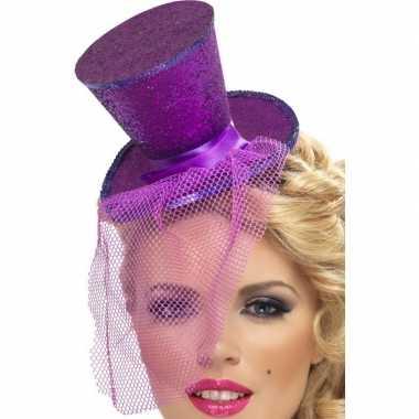 Carnavalskleding mini paarse hoge hoed diadeem arnhem