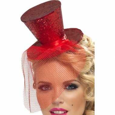 Carnavalskleding mini rode hoge hoed diadeem arnhem