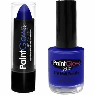 Carnavalskleding neon blauwe uv lippenstift/lipstick nagellak schmink