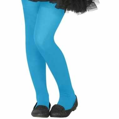 Carnavalskleding neon blauwe verkleed panty kinderen arnhem