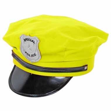 Carnavalskleding neon gele politiepet arnhem