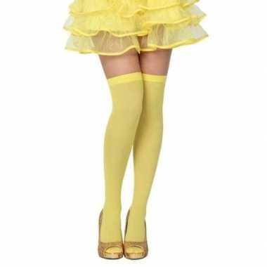Carnavalskleding neon gele verkleed kousen dames arnhem