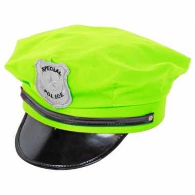 Carnavalskleding neon groene politiepet arnhem